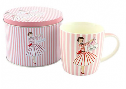 Pink Vintage Fine China Mug in Tin Retro Design ~ Happy Days